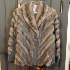 Vintage ladies leather and fur jacket